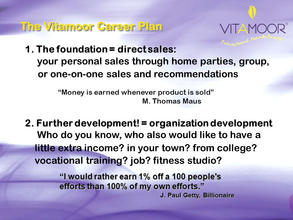 The Vitamoor Career Plan