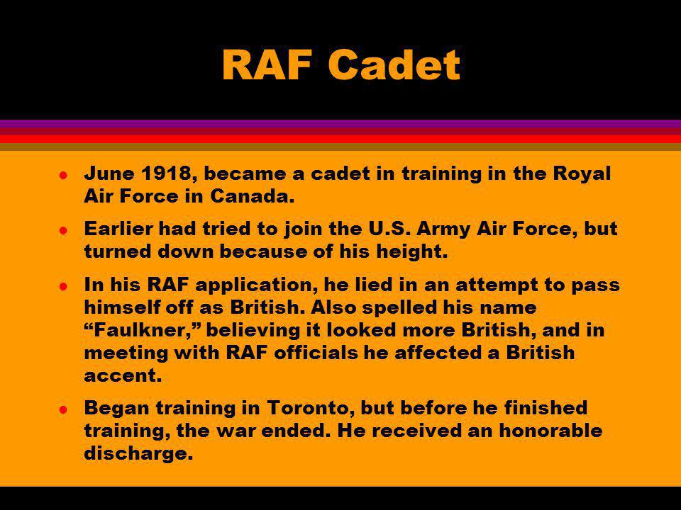 RAF Cadet June 1918, became a cadet in training in the Royal Air Force in Canada.
