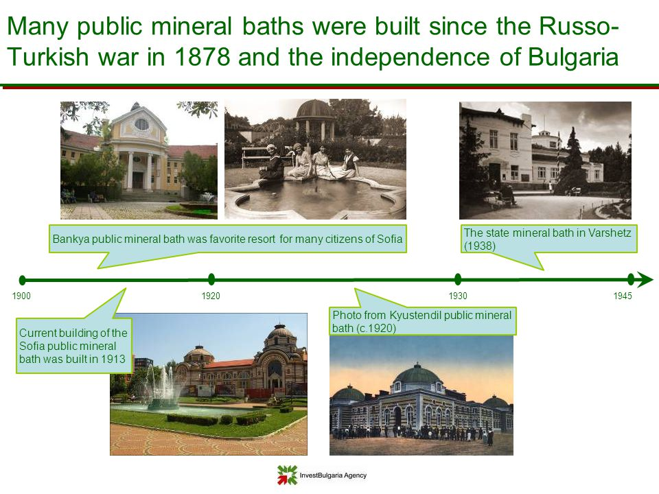 Many public mineral baths were built since the Russo-Turkish war in 1878 and the independence of Bulgaria