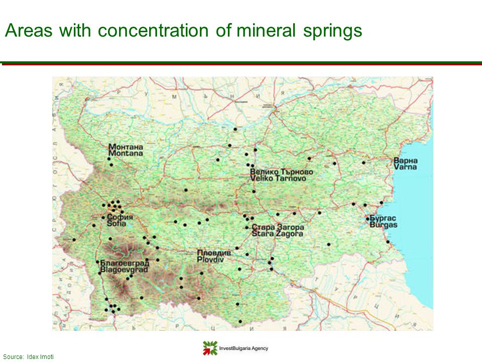 Areas with concentration of mineral springs