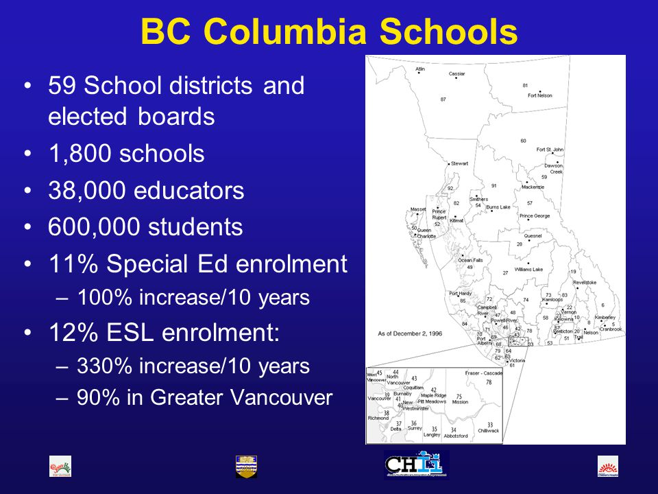BC Columbia Schools 59 School districts and elected boards