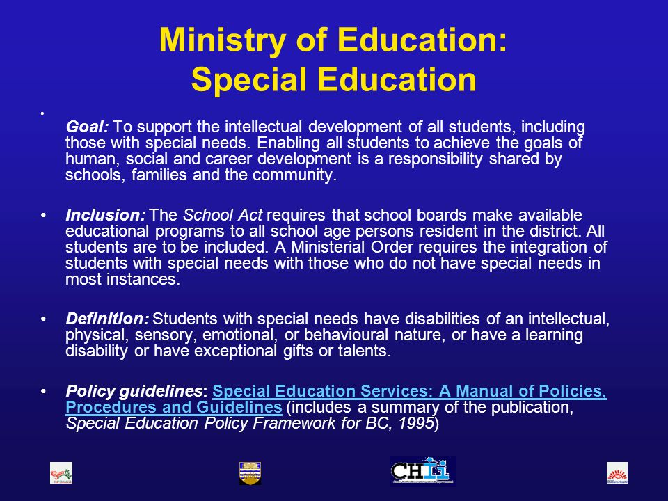 Ministry of Education: Special Education