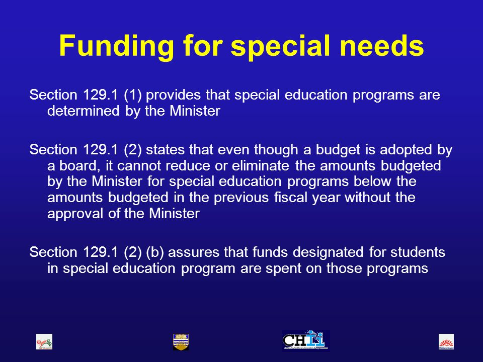 Funding for special needs