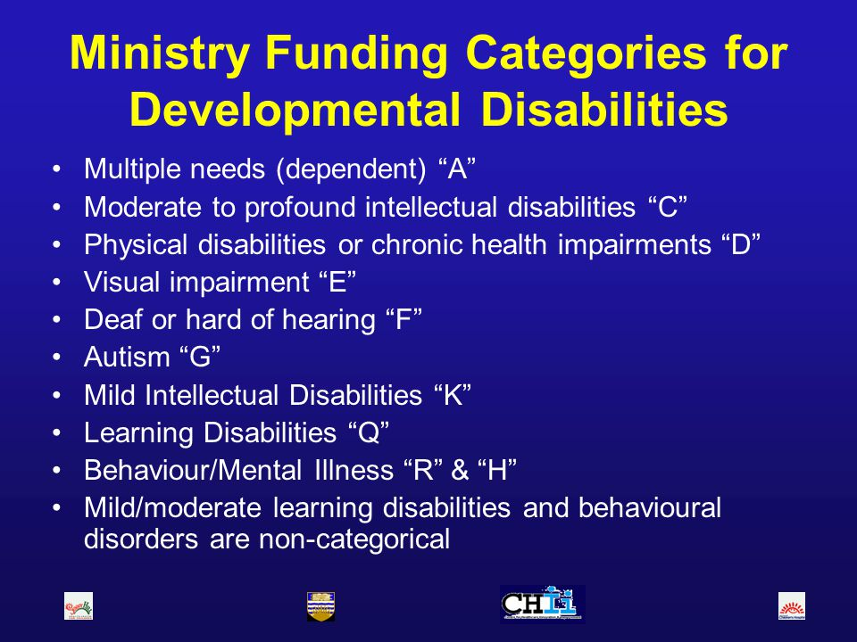 Ministry Funding Categories for Developmental Disabilities