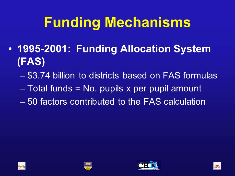 Funding Mechanisms 1995-2001: Funding Allocation System (FAS)