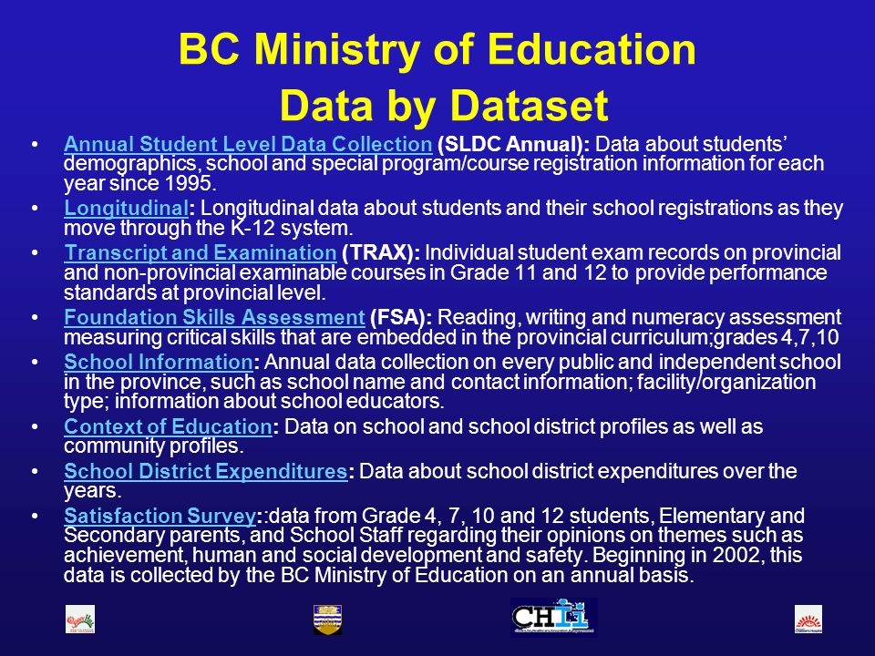 BC Ministry of Education Data by Dataset