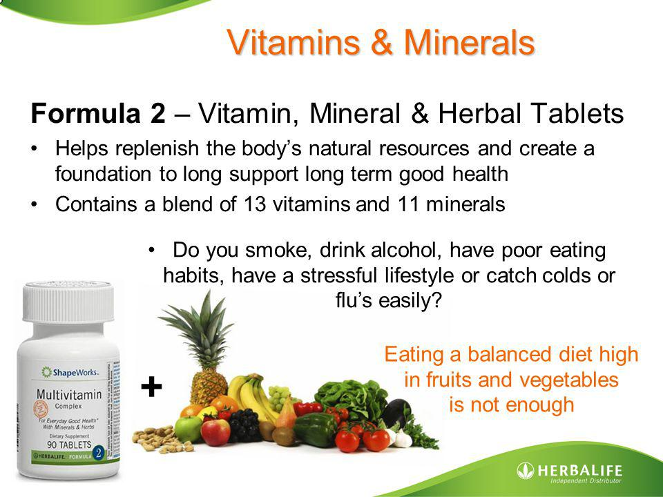 + Vitamins & Minerals Formula 2 – Vitamin, Mineral & Herbal Tablets