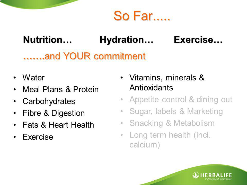 So Far..... Nutrition… Hydration… Exercise… …….and YOUR commitment