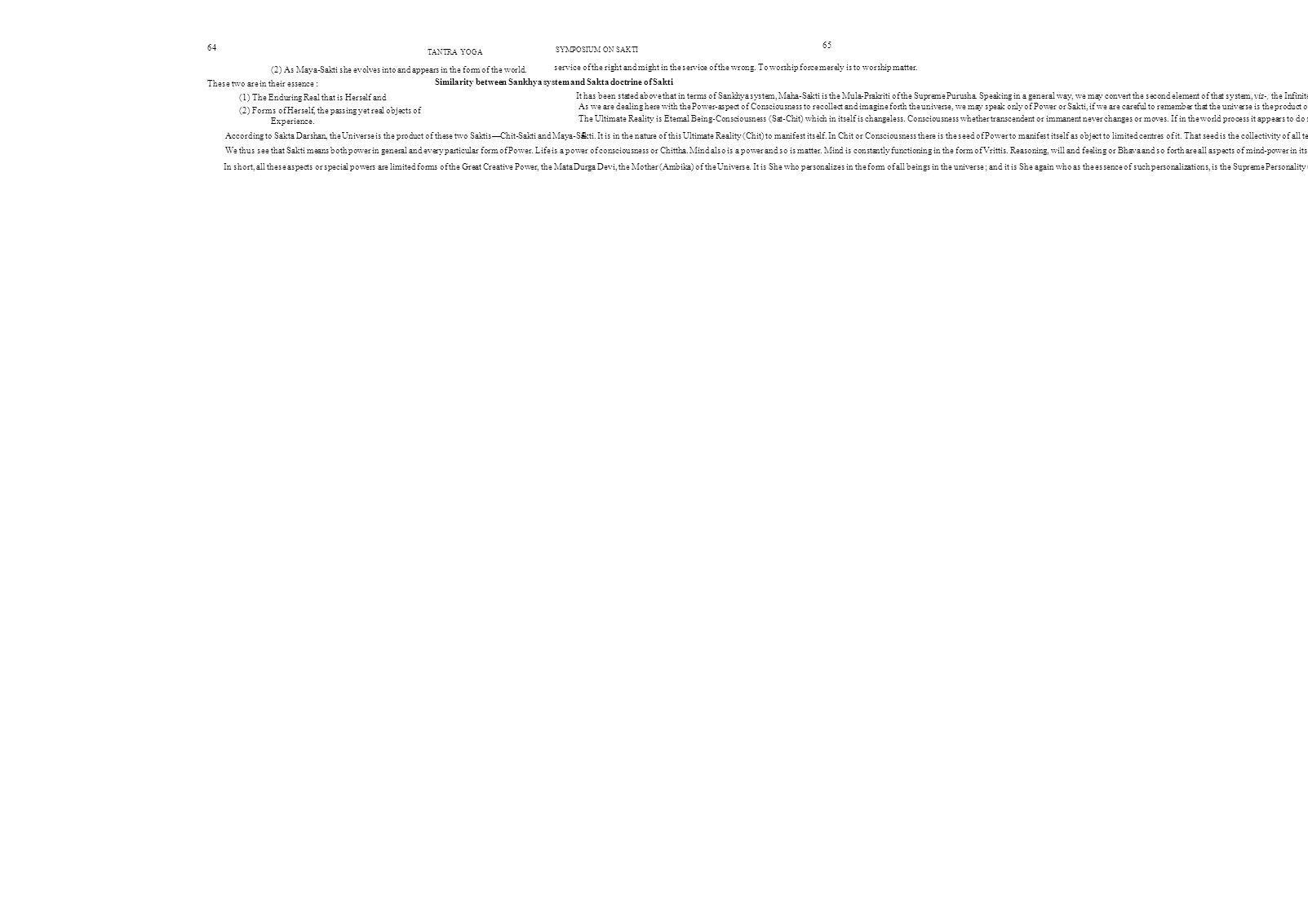 Similarity between Sankhya system and Sakta doctrine of Sakti