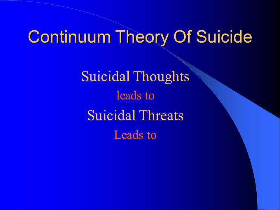 Continuum Theory Of Suicide