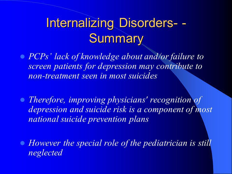 Internalizing Disorders- - Summary