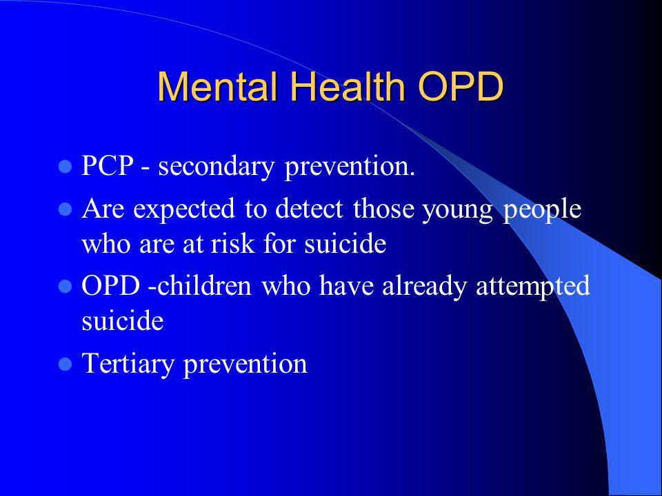 Mental Health OPD PCP - secondary prevention.