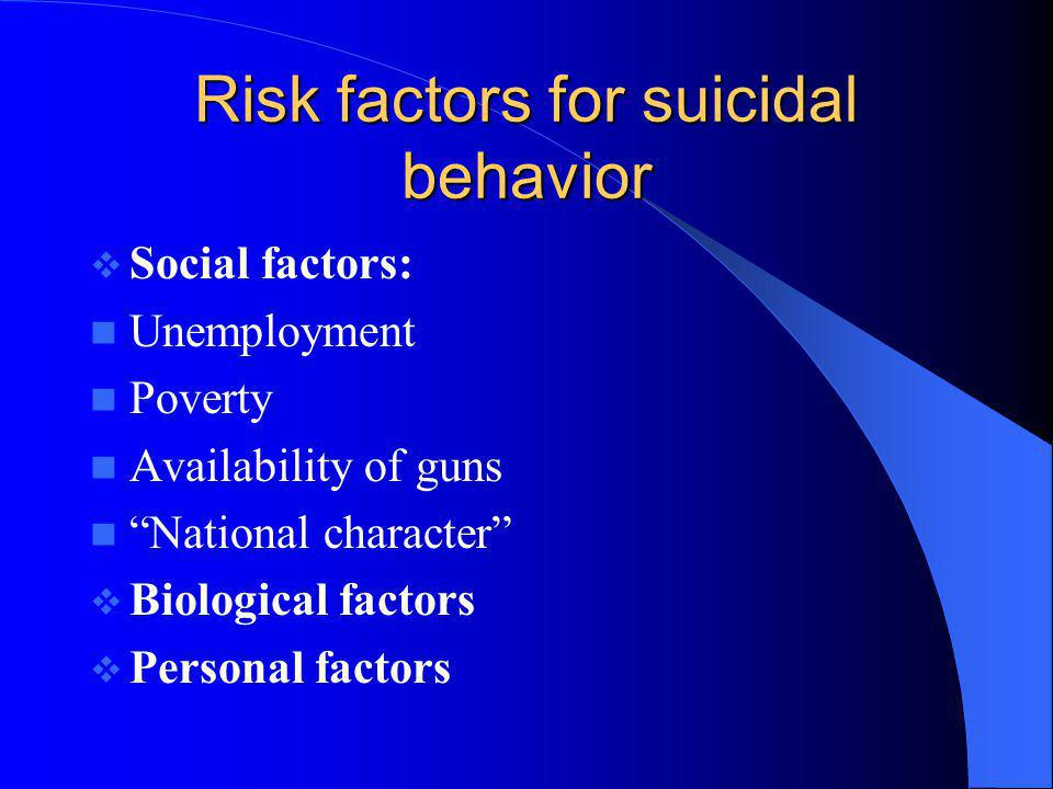 Risk factors for suicidal behavior