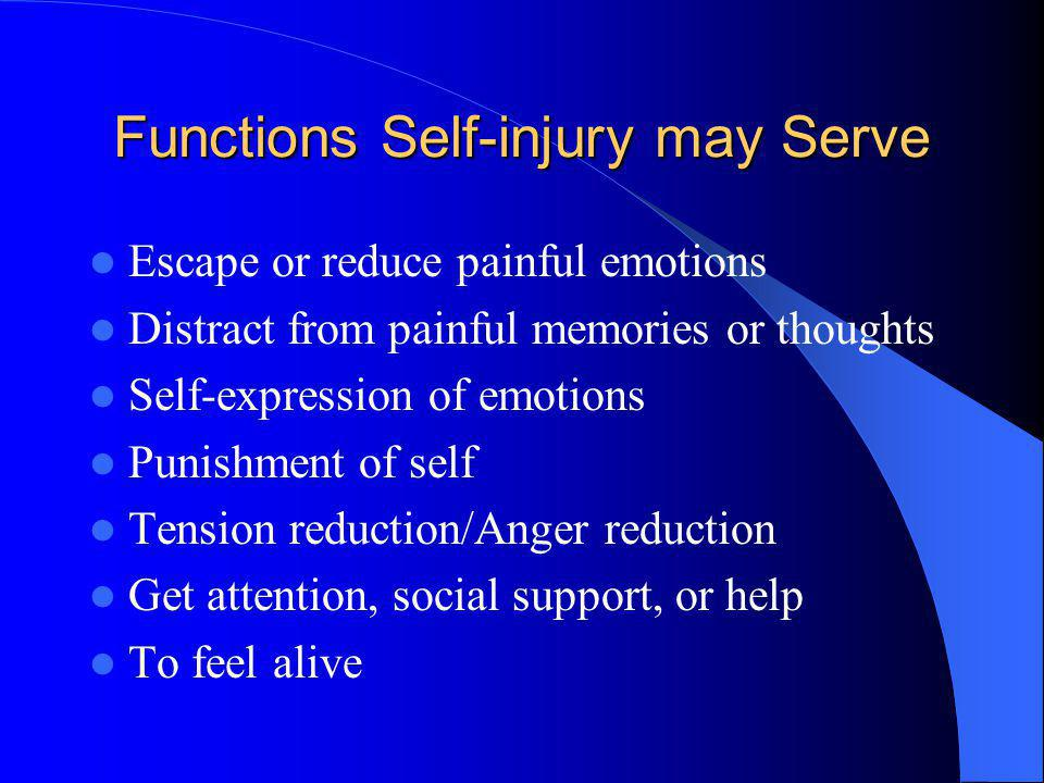 Functions Self-injury may Serve