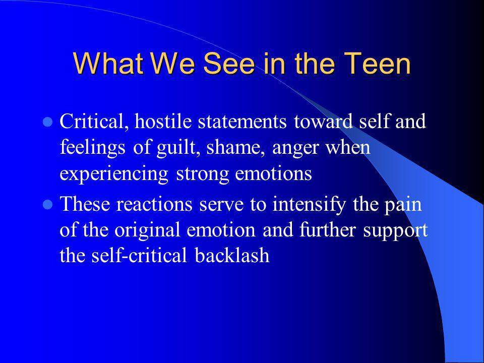 What We See in the Teen Critical, hostile statements toward self and feelings of guilt, shame, anger when experiencing strong emotions.