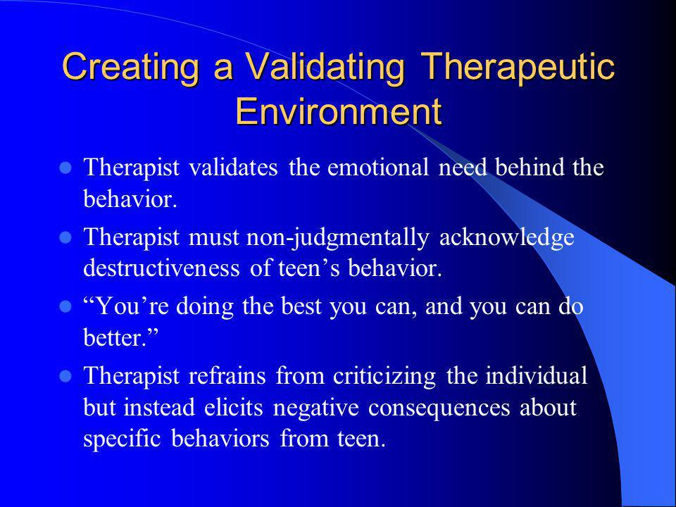 Creating a Validating Therapeutic Environment
