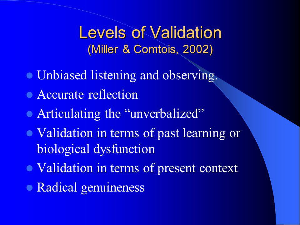 Levels of Validation (Miller & Comtois, 2002)