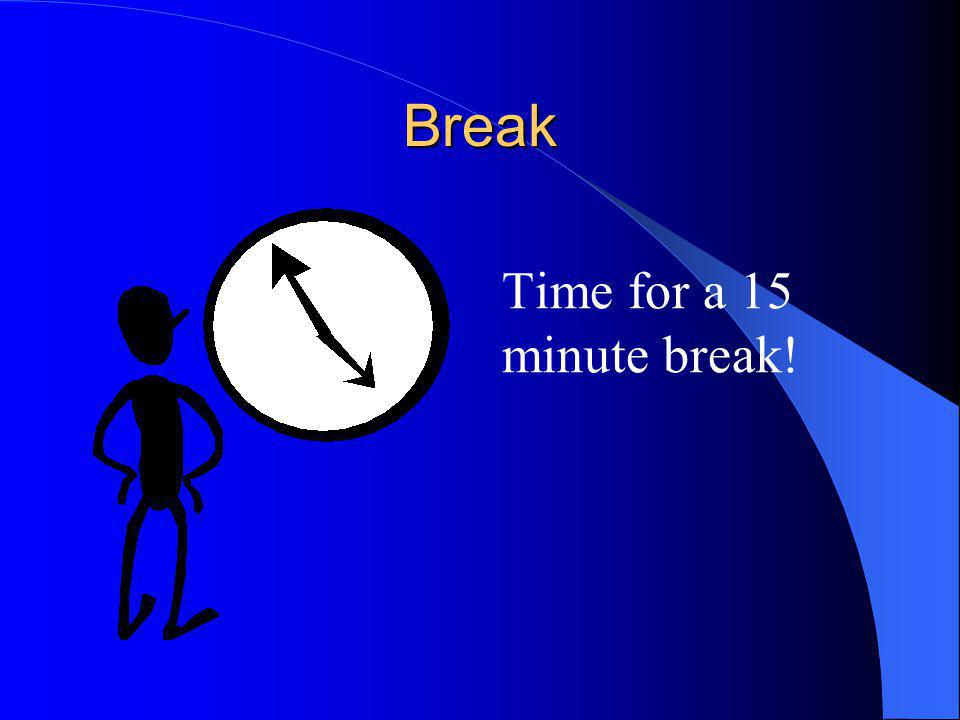 Break Time for a 15 minute break!
