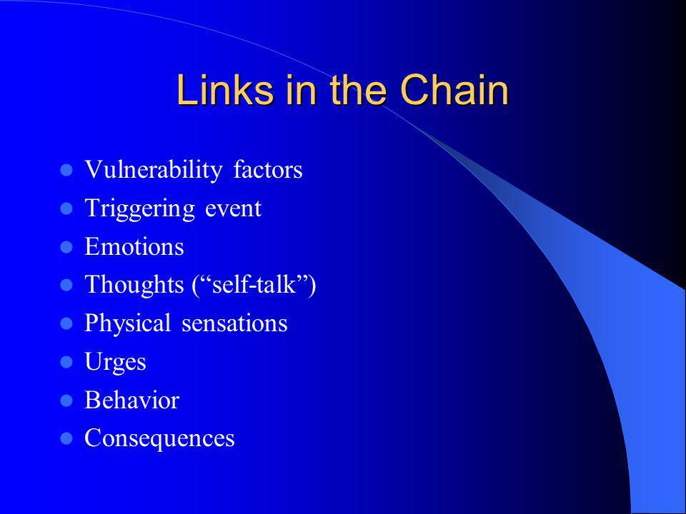 Links in the Chain Vulnerability factors Triggering event Emotions