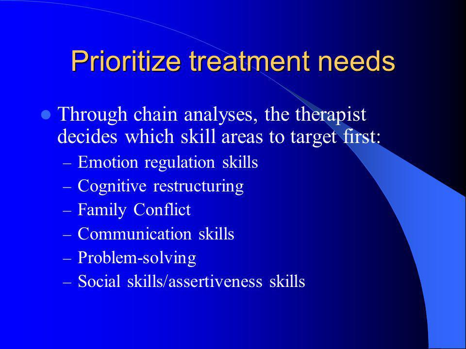 Prioritize treatment needs