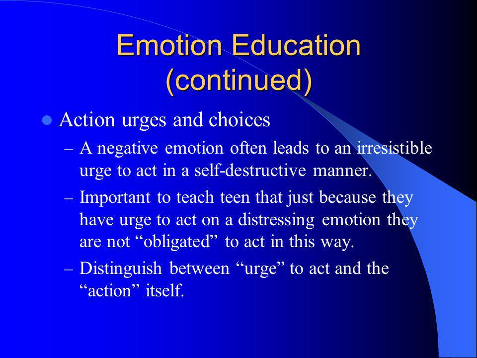 Emotion Education (continued)