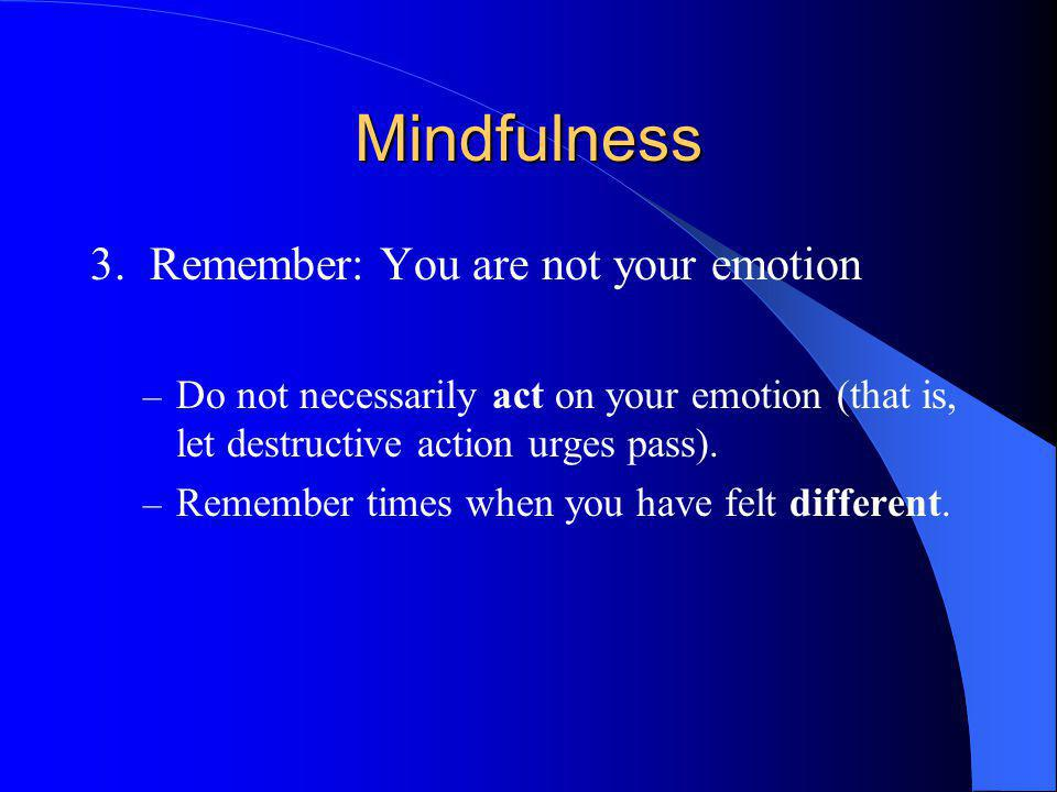 Mindfulness 3. Remember: You are not your emotion