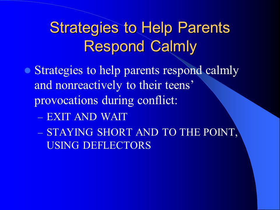 Strategies to Help Parents Respond Calmly