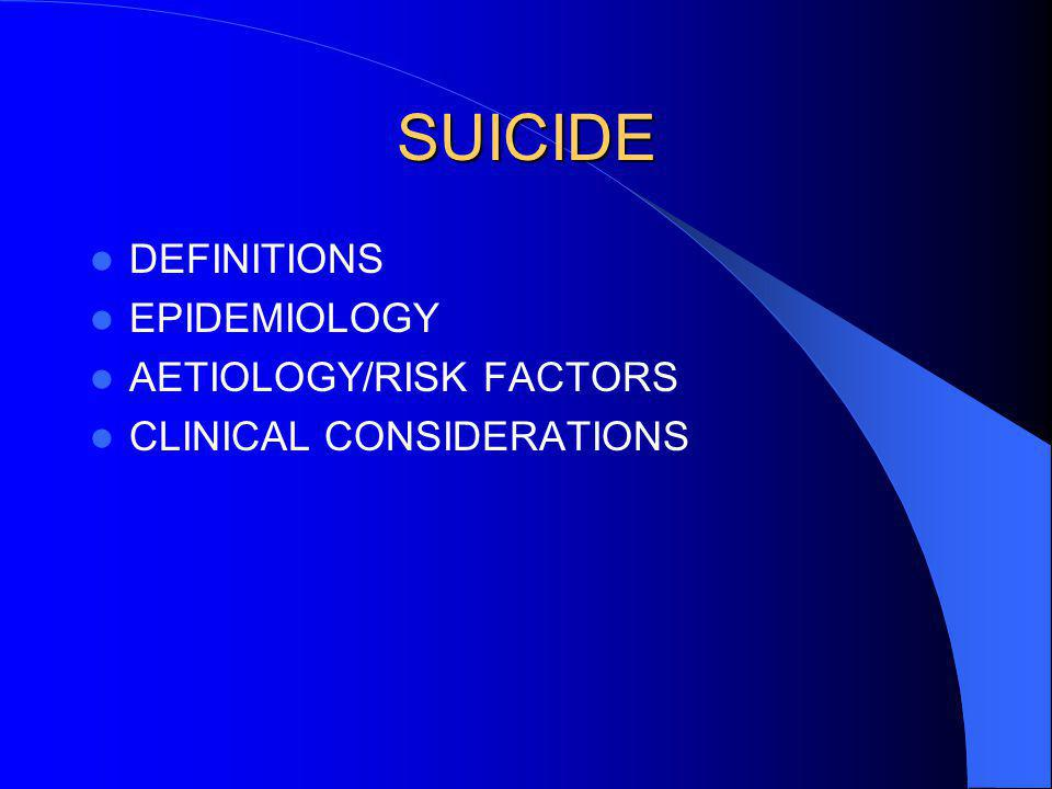 SUICIDE DEFINITIONS EPIDEMIOLOGY AETIOLOGY/RISK FACTORS