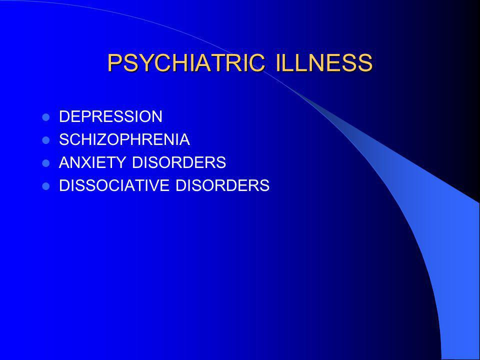 PSYCHIATRIC ILLNESS DEPRESSION SCHIZOPHRENIA ANXIETY DISORDERS