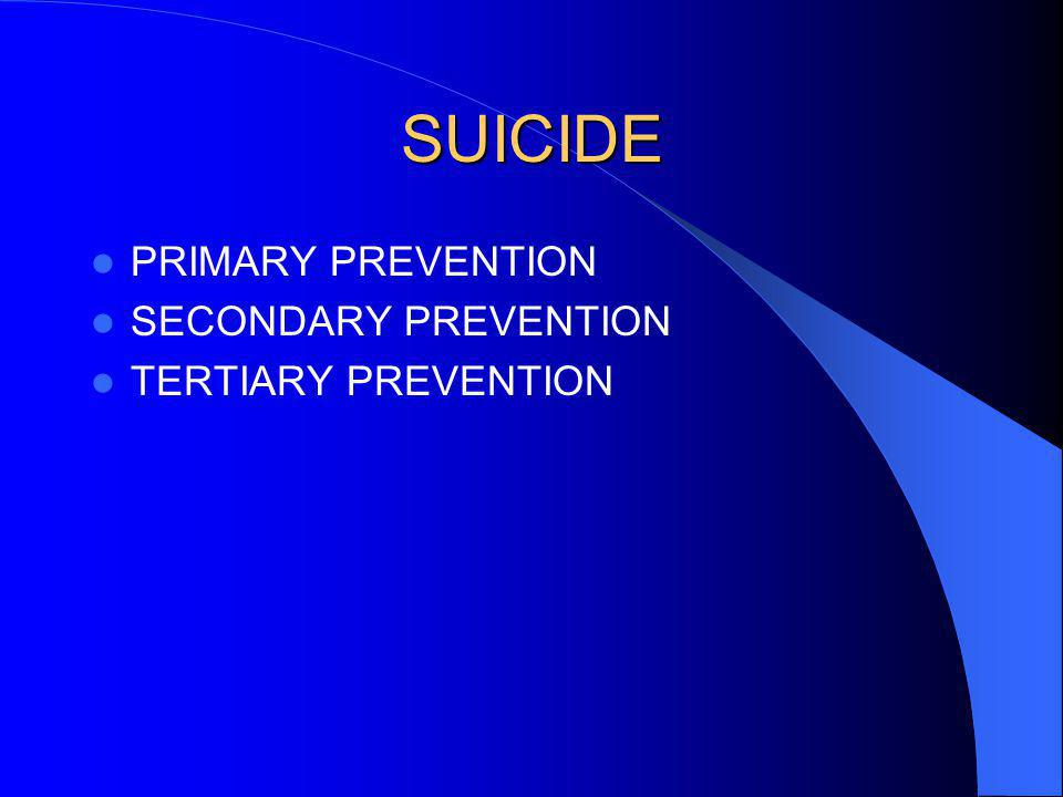 SUICIDE PRIMARY PREVENTION SECONDARY PREVENTION TERTIARY PREVENTION