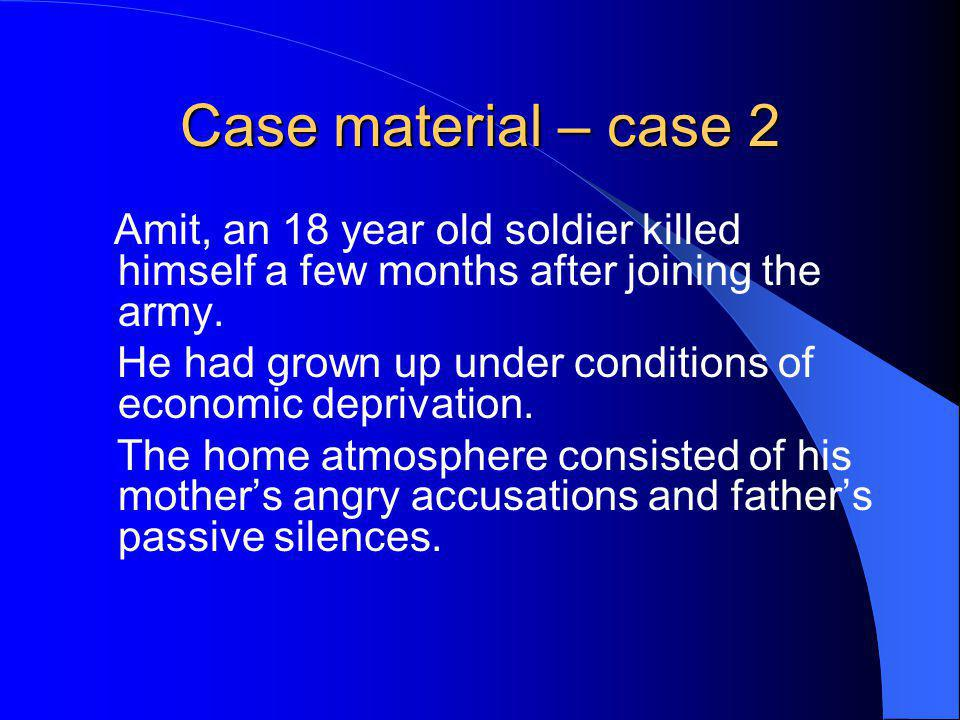 Case material – case 2 Amit, an 18 year old soldier killed himself a few months after joining the army.