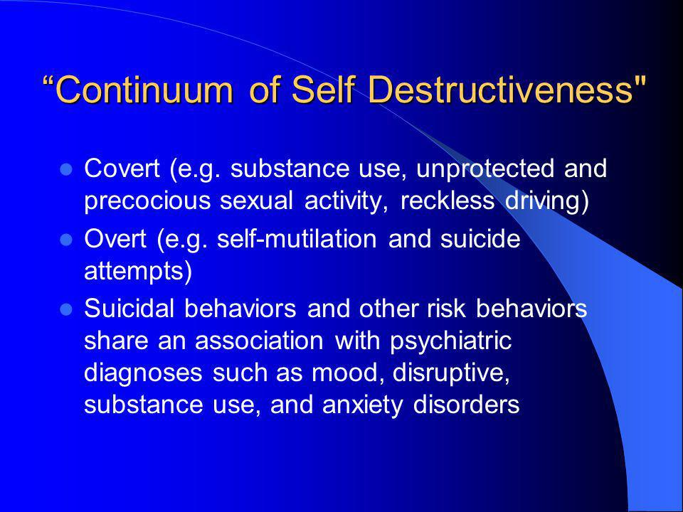 Continuum of Self Destructiveness