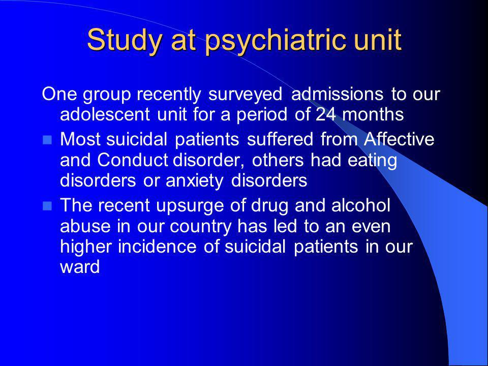 Study at psychiatric unit