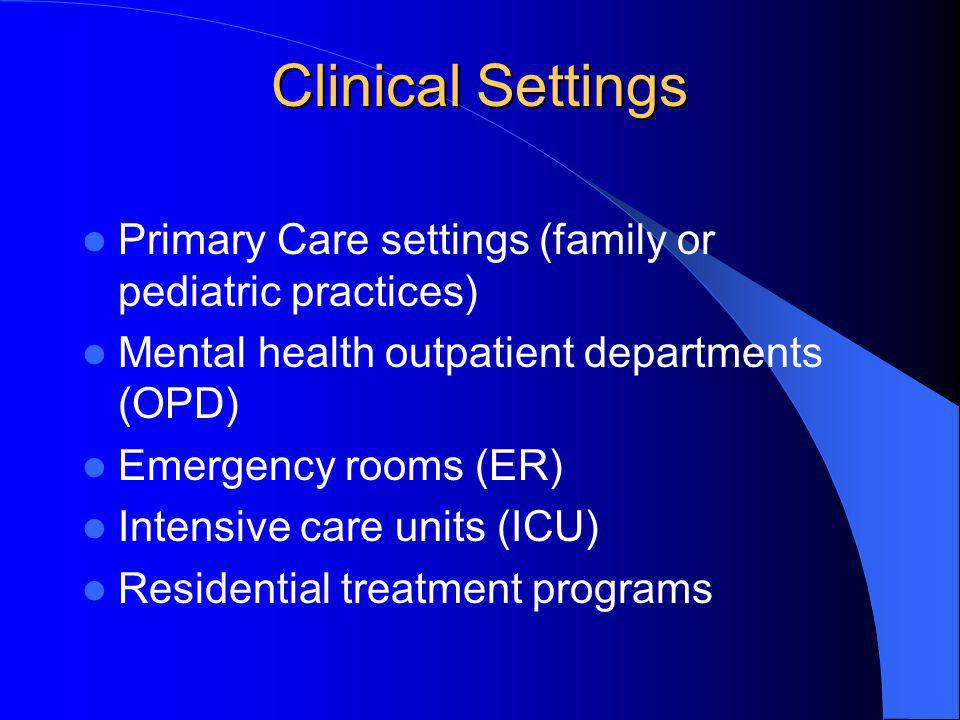 Clinical Settings Primary Care settings (family or pediatric practices) Mental health outpatient departments (OPD)