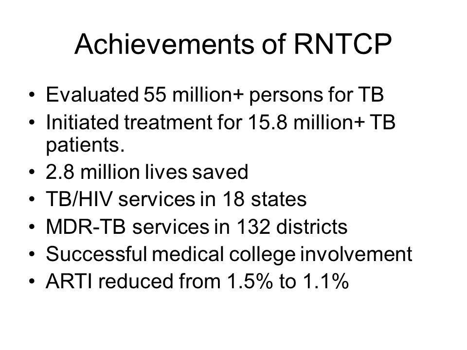 Achievements of RNTCP Evaluated 55 million+ persons for TB