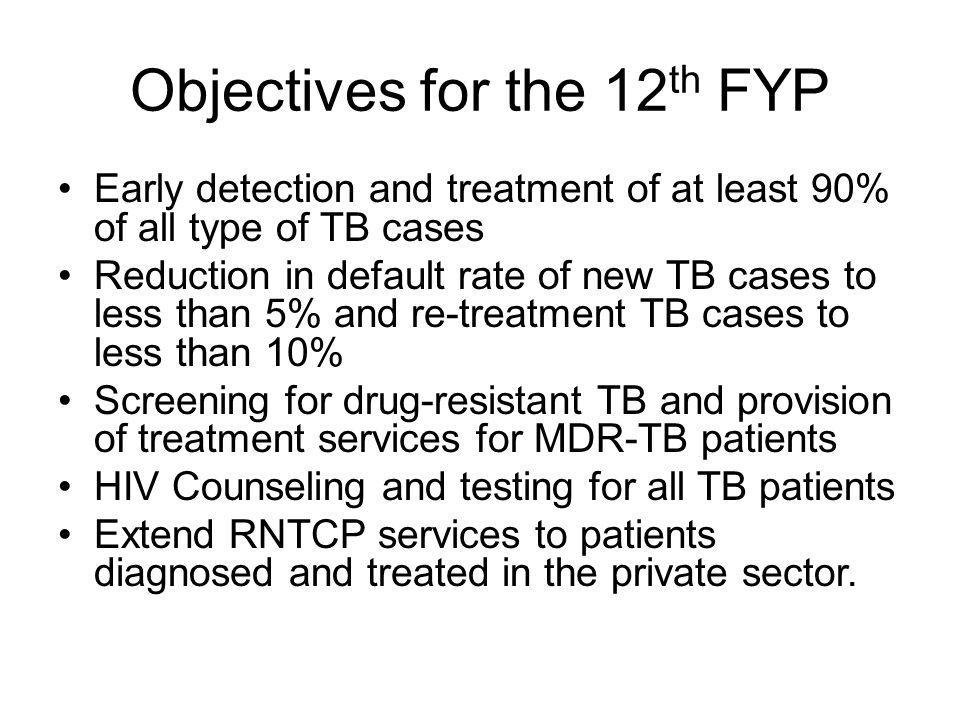 Objectives for the 12th FYP
