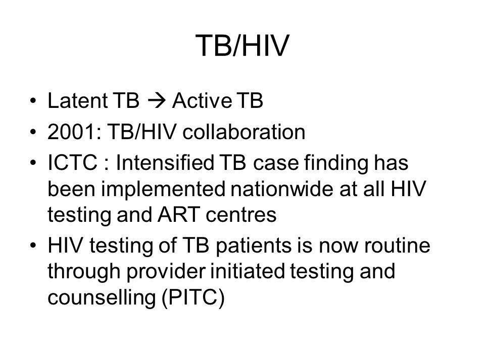 TB/HIV Latent TB  Active TB 2001: TB/HIV collaboration