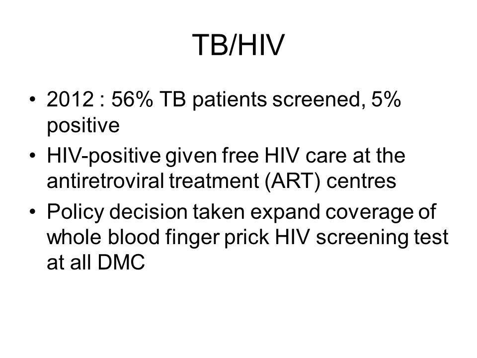 TB/HIV 2012 : 56% TB patients screened, 5% positive