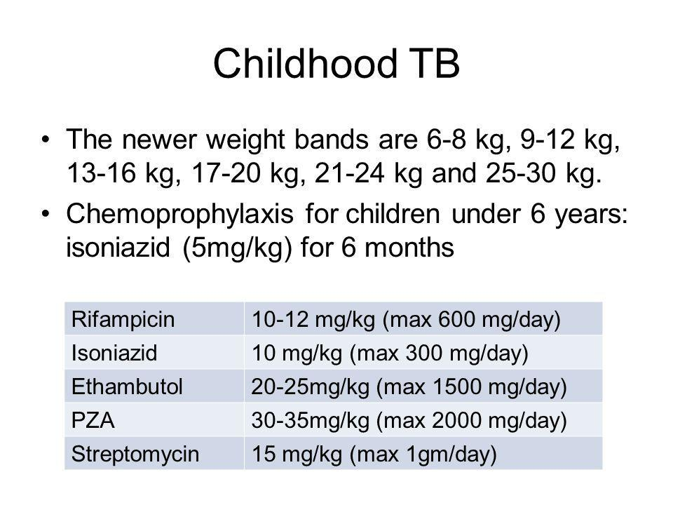 Childhood TB The newer weight bands are 6-8 kg, 9-12 kg, 13-16 kg, 17-20 kg, 21-24 kg and 25-30 kg.