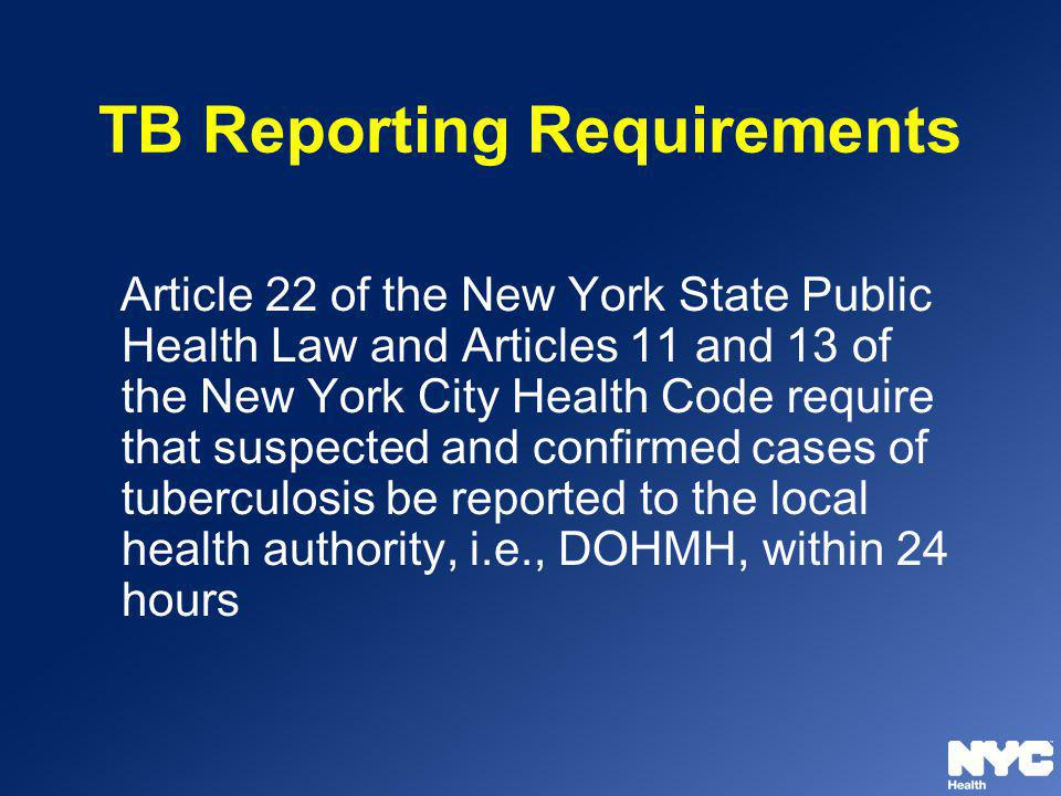 TB Reporting Requirements