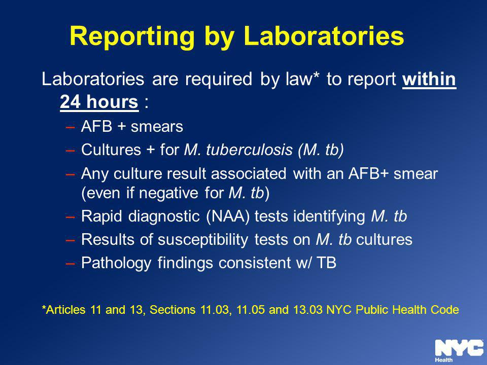Reporting by Laboratories