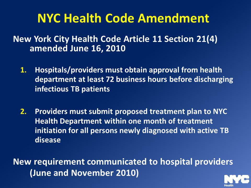 NYC Health Code Amendment