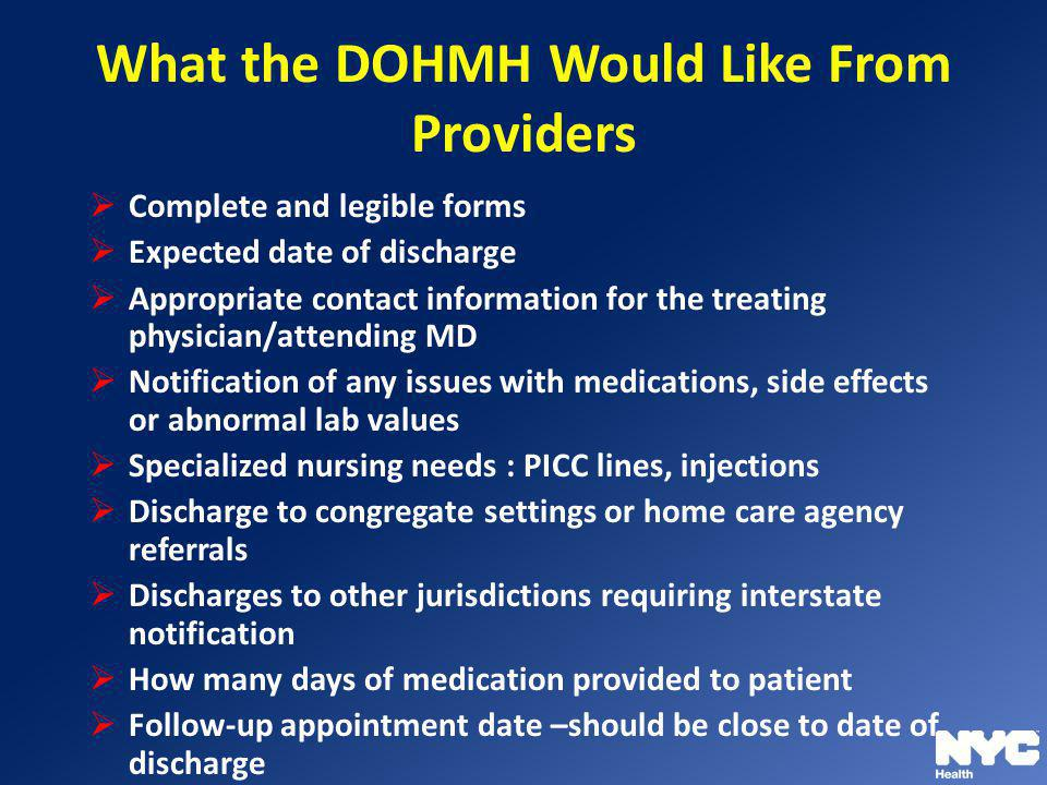 What the DOHMH Would Like From Providers