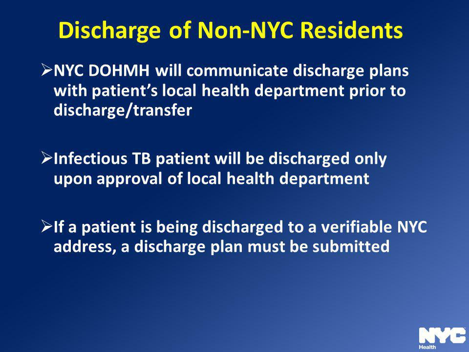 Discharge of Non-NYC Residents
