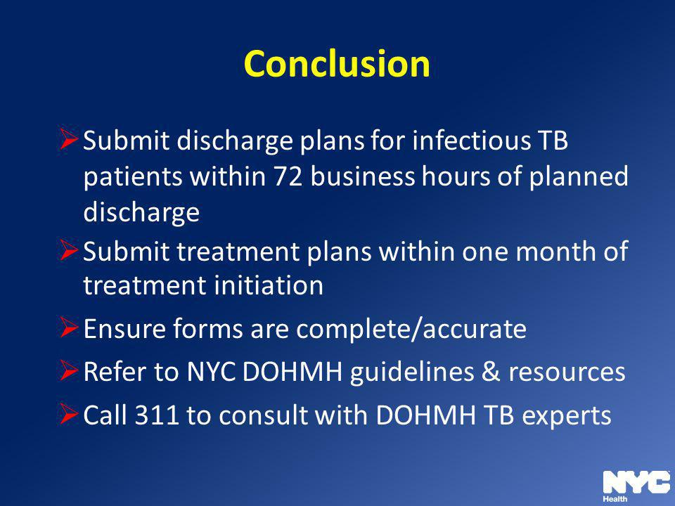 Conclusion Submit discharge plans for infectious TB patients within 72 business hours of planned discharge.