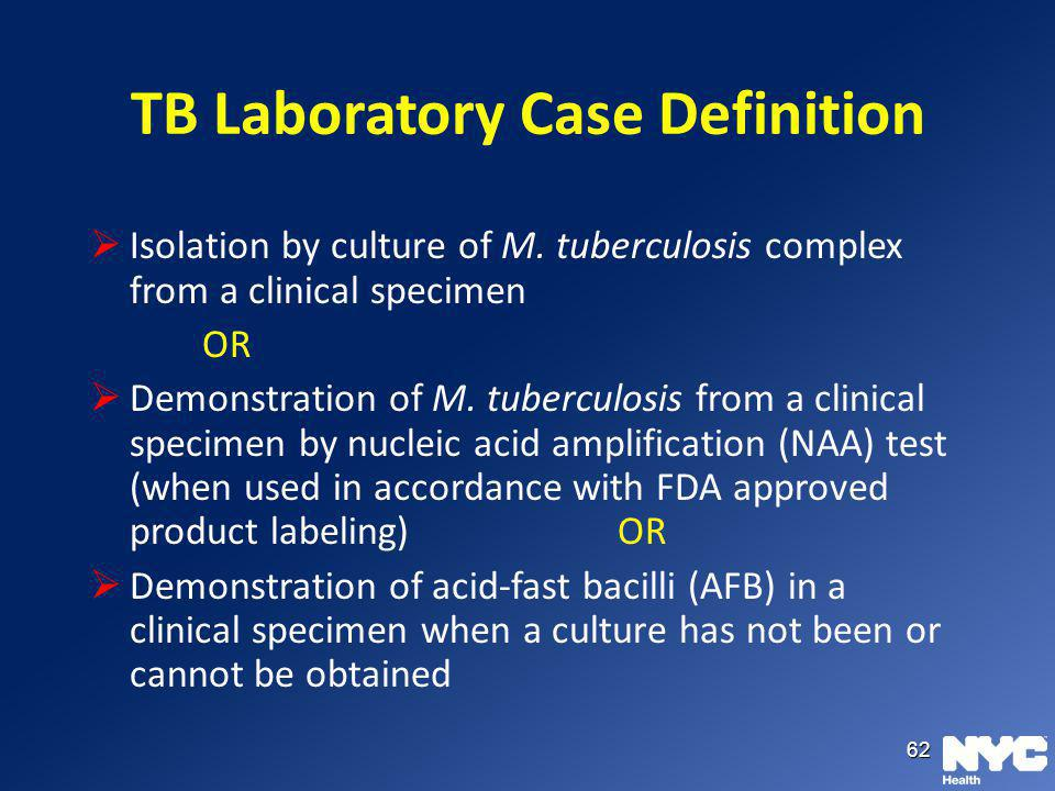 TB Laboratory Case Definition