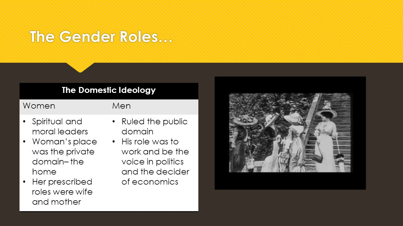 The Gender Roles… The Domestic Ideology Women Men