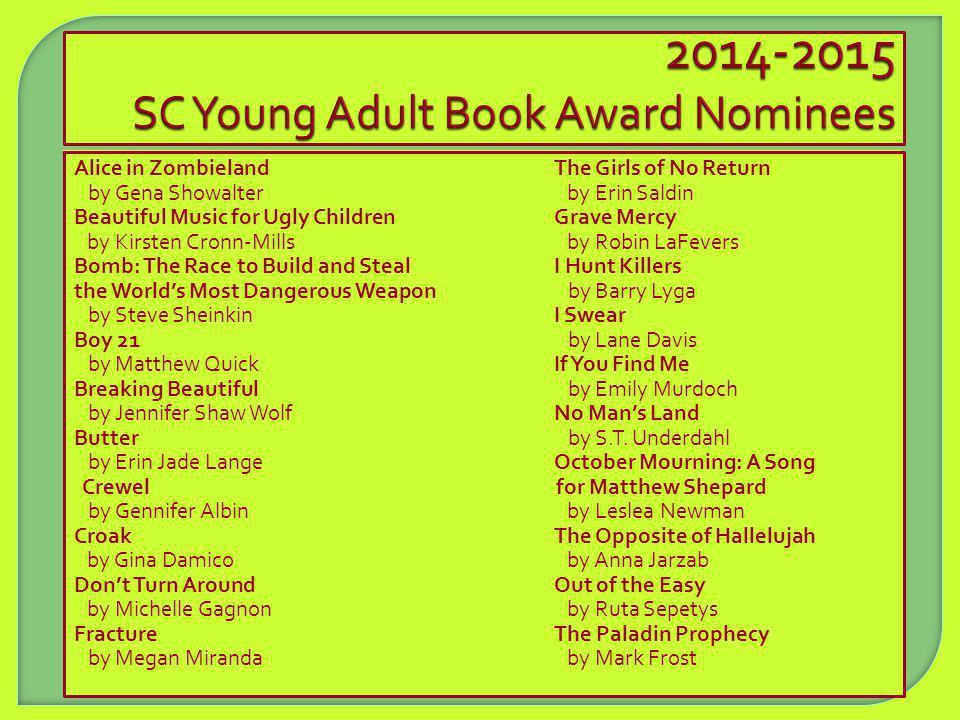 SC Young Adult Book Award Nominees