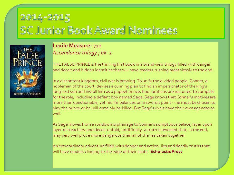 2014-2015 SC Junior Book Award Nominees