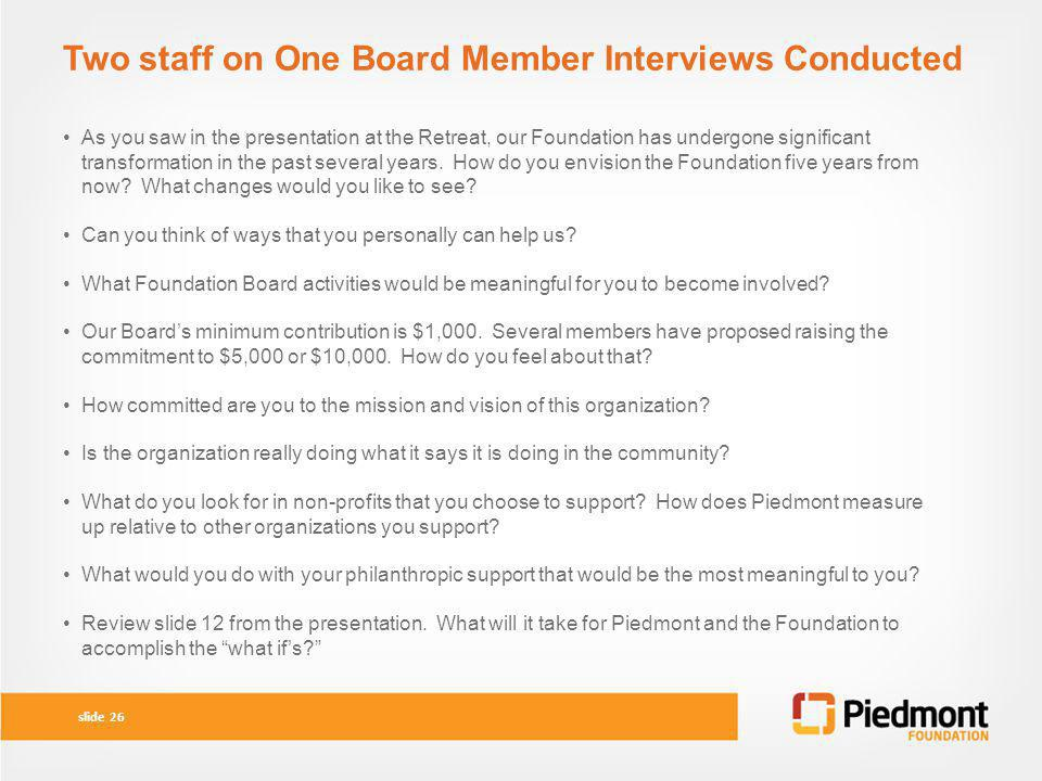 Two staff on One Board Member Interviews Conducted